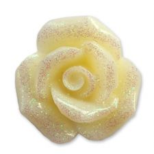 20mm CREAM Glitter Rose Resin Flatback Cabochon